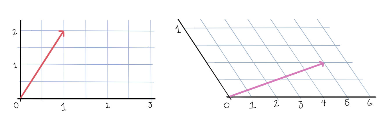 Drawing of vectors in two coordinate systems.